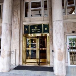 Bristol Hotel entrance with revolving door